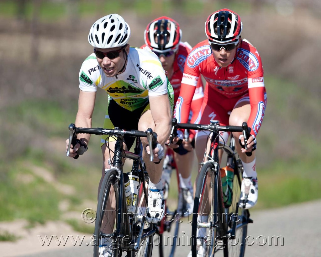 Charles Hutcheson (McGuire Cycling Team) has an early stint in the lead